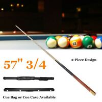57'' 3/4 2-Piece Wood Jointed Pool Cue Stick Snooker Billiard Game Sport Bar