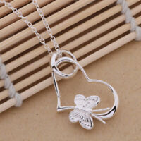 Charm 925 Sterling Silver Plated Heart Butterfly Necklace Pendant Chain Jewelry