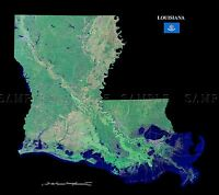 MAP COUNTY SATELLITE USA STATE FLAG LOUISIANA LARGE REPLICA POSTER PRINT PAM1374