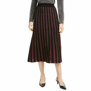 ALFANI NEW Women's Malbec Metallic Striped Sweater Pull On Pleated Skirt L TEDO