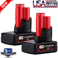 2x For MILWAUKEE 48-11-2440 M12 12V LITHIUM XC 4.0Ah Battery Pack 48-11-2402 Red