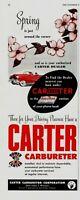 1952 ORIGINAL VINTAGE CARTER AUTOMOBILE CARBURETER MAGAZINE AD