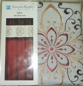 DECORTIVE EMBROIDERED FABRIC SHOWER CURTAIN  NEW