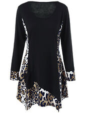XL-5XL Women Hot Blouse T-Shirt Long Sleeve Plus Size Leopard Tunic Asymmetrical