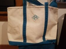 """Used Vintage LL Bean Tote Bag white light Blue Boat Tote 24"""" x 15"""" Canvas Large"""