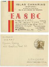 1949 Tenerife Canary Islands Radio EA8BC QSL card cover - Concord North Carolina