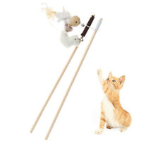 Pet Cat Teaser Toys Feather Linen Wand Cat Interactive Toys Wood Rod ME
