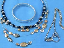 Vintage Fashion Jewelry Lot 2 Beaded Beads Necklace Bracelet Watch Chain