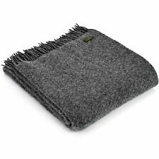 TWEEDMILL TEXTILES KNEE RUG 100% Wool Sofa Throw Bed Blanket WAFER SLATE GREY
