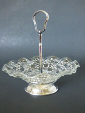 Vintage Glass Button & Cane Pattern Silver Handled Candy Nut Dish Windsor