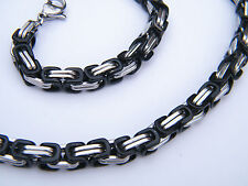 NECKLACE STAINLESS STEEL 316L  SILVER/BLACK  MEN'S JEWELLERY NECKLACE KH