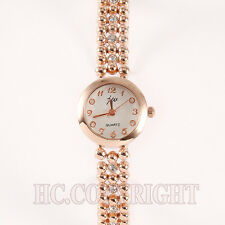 Fashion Rose Gold Women Crystal Decor Quartz Luxury Dress Style Wrist Watches