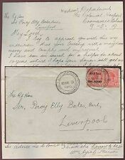 GOLD COAST 1919 LETTER COOMASSIE HOSPITAL HANSON to SIR PERCY ELLY BATES