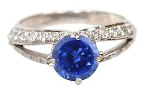 1.65Ct Natural Blue Tanzanite With IGI Certified Diamond Ring In 14KT White Gold