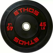 1 x 45lb Olympic Rubber Bumper Plate SINGLE Ethos Barbell Weights