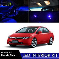6PCS Blue Interior LED Light for 2006 - 2012 Honda Civic White for License Plate