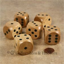 NEW Set of 6 Jumbo 30mm Natural Wood Dice Wooden RPG Board Game D6 Light Stained