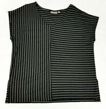 SUSSAN Womens Black / White V-Neck Stripe Top Blouse Shirt Size S