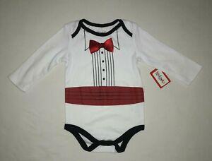 Kidgets white tuxedo body suit shirt boys size 6-9M NWT