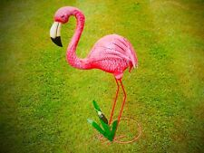 New Handmade Tin BRIGHT PINK FLAMINGO Statue ornament for HOME GARDEN or POND