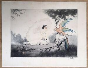 Gravur Art Déco Jean Hardy Porträt Frau Kleid Mode Sonnenschirm Garten Papageien