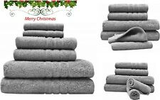 Bath Towel 6 Piece Set Bathroom Towels 100% Egyptian Cotton Luxurious Grey