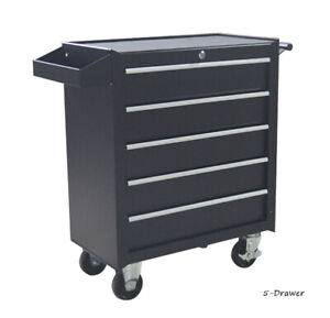 TECHTONGDA 5-Drawer Storage Cabinet Tool Car with Wheels for Garage Black