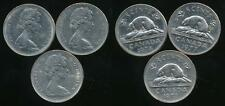 Canada, Group of 3 Elizabeth II 5 Cent Coins (1972, 1977, 1978) - Very Fine