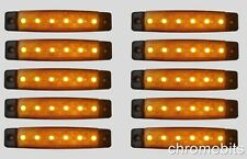 10 pcs 12V 6 LED Side Marker Orange Amber Indicator Lights Truck Trailer Van Bus