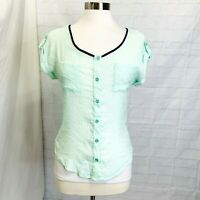 Anthropologie Mine Small Top Green Navy Blue Button Sheer Gauze Open Back #W