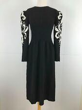 Vintage Lillie Rubin S / M Black Knit Dress White Studs Embroidery Party Evening