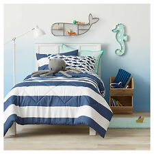 NEW Pillowfort Rugby Stripe Navy Blue White FULL QUEEN  3 Pc Comforter Set NEW