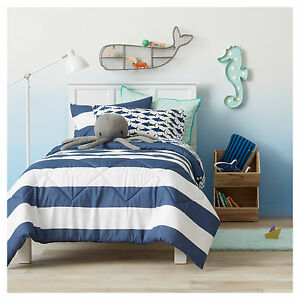 NEW Pillowfort 3 piece FULL QUEEN COMFORTER SET Rugby Stripe Navy Blue White NEW