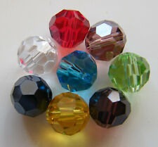 75pcs 8mm Faceted Round Crystal Beads - Mixed Colours