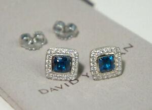 David Yurman 925 Silver 585 BLue Topaz Diamond Petite Ablion Stud arrings