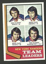 New York Rangers Rod Gilbert Brad Park 1974-75 Topps Hockey Card #141  NM/M