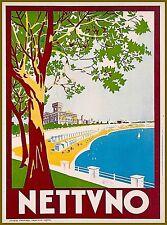 Nettuno Italy Vintage Travel Wall Decor Advertisement Art Poster Print