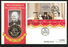 1995 50th Anniversary of Liberation of Jersey Coin FDC - £2 Coin & Jersey Pmk