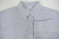 Brooks Brothers Non-Iron Slim Fit Dress ShirtBlue White Brown Stripe 16.5 - 36
