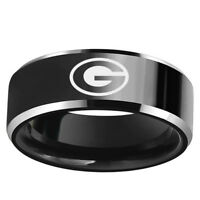 Green Bay Packers Football Team Black Stainless Steel Mens Band Ring Size 6-13