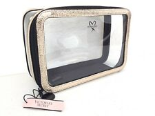 NEW! Victoria Secret Clear GOLD Metallic Train Case Travel Beauty Cosmetic Bag