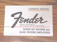 1974 Fender Super Six & Quad Reverb Owners Manual