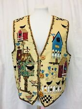 Birdhouses Quilted Vest. Women's. Large. Wooden Button Detailing. Cotton.