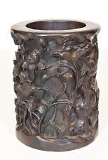 Asian Chinese Carved Rosewood  Brush Pot / Pen Holder w lotus & bird decor