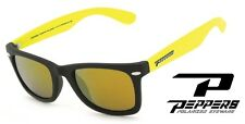 NEW Peppers Sweet Black Gold Mirror Polarized Rectangle Mens Sunglasses Msrp$45