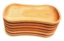 "Wooden plate set of six 12 "" long medieval serving plate  beech wood"