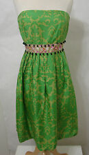 PLENTY TRACY REESE 100% Silk Green Floral Bead Trim Bubble Dress India 8