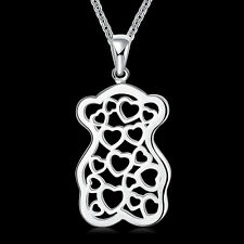 """Solid Silver Jewelry Hollow Bear A Lot Of Love Women Necklace 18"""" NP770"""