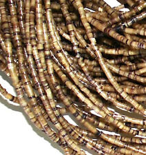 3 Strands 3mm Heishi Shell Beads, Native American Craft, Tan Seashell