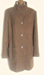 """HOUSE of BRUAR Herringbone Tweed Coat SZ """"14"""" Fits 16 UK best Nut brown """"Funnel"""""""